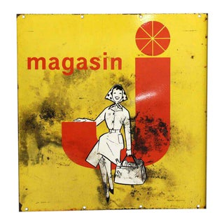 Vintage Magasin Advertisement Metal Sign