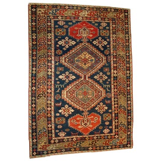 """Antique Hand Made Russian Rug - 5' X 5'8"""""""