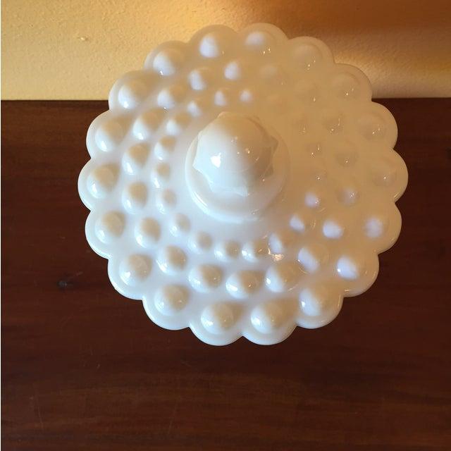Image of Fenton Hobnail Mid-Century Milk Glass Lidded Jar
