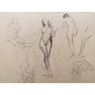 Antique 1931 Nude Female Figure Studies Drawing