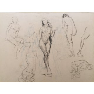 Antique 1931 Nude Female Figure Studies Drawing
