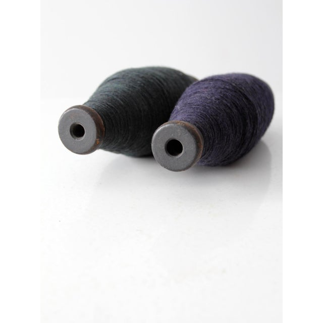 Antique Wooden Spools With Navy Thread - a Pair - Image 4 of 7