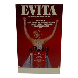 C. 1980 Evita The International Musical Hit Cardboard Poster