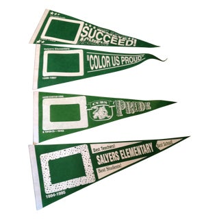 Vintage Green Felt School Banners - Set of 4