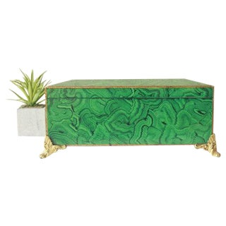 Vintage Painted Malachite Box