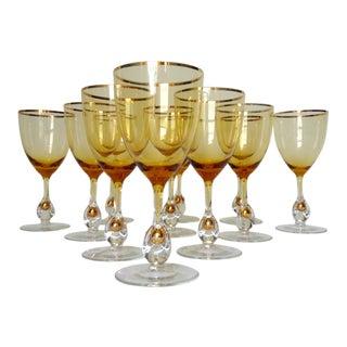 c.1960s Italian Handblown Amber & Gilt Gold Crystal Wine Glasses -Set of 11
