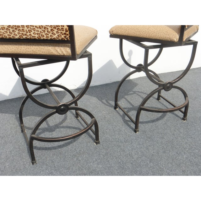 Wrought Iron Swivel Bar Stools - A Pair - Image 9 of 9