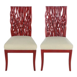 Modern Red Bent Rattan & Mahogany Chairs - A Pair