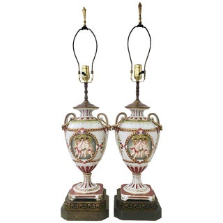 19th C. German Neoclassical Meissen Style Porcelain Lamps - A Pair