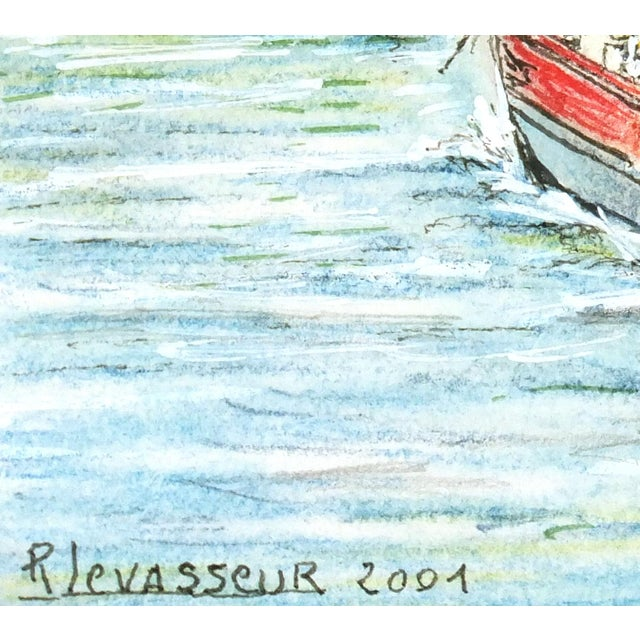 Contemporary French Port Watercolor Painting - Image 2 of 4