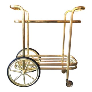Vintage Hollywood Regency Brass Rolling Bar Cart