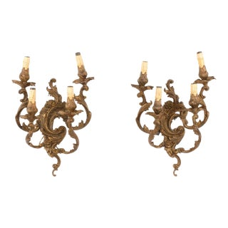 Louis XV Style Bronze Four Light Rocaille Wall Sconces - a Pair