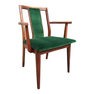 Vintage Emerald Velvet Upholstered Teak Chair