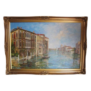 M. Rusk Grand Canal in Venice Oil Painting