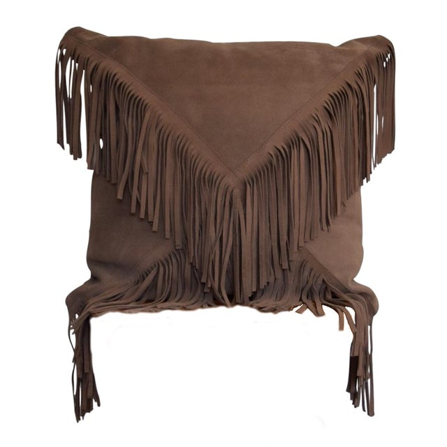 Decorative Pillows With Fringe : Suede Fringe Decorative Pillow Chairish