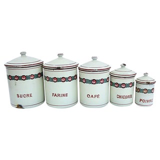 1940s French Enamel Canisters - Set of 5