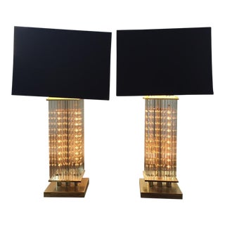 Lightolier Glass Rod Table Lamps - A Pair