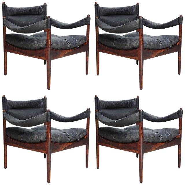 Set of Four Kristian Solmer Vedel 'Modus' Rosewood Lounge Chairs - Image 1 of 10
