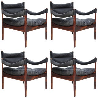 Set of Four Kristian Solmer Vedel 'Modus' Rosewood Lounge Chairs
