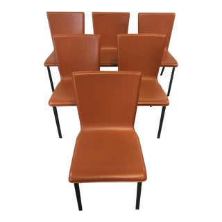 Mid-Century Modern Style Leather & Metal Side Chairs - Set of 6
