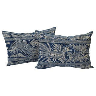 Indigo Batik Hmong Pillows - Pair