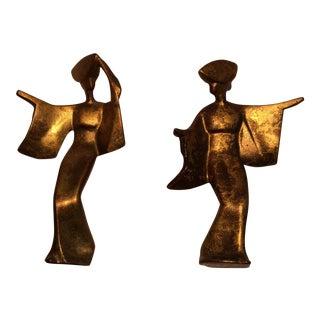 Mid-Century Modern Cast Bronze Dancing Geisha Girls- A Pair