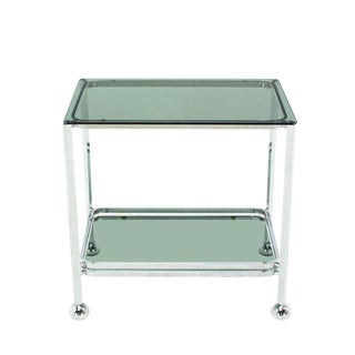 Chrome Tinted Smoked Glass Rolling Tea Cart with Concealed Wheels