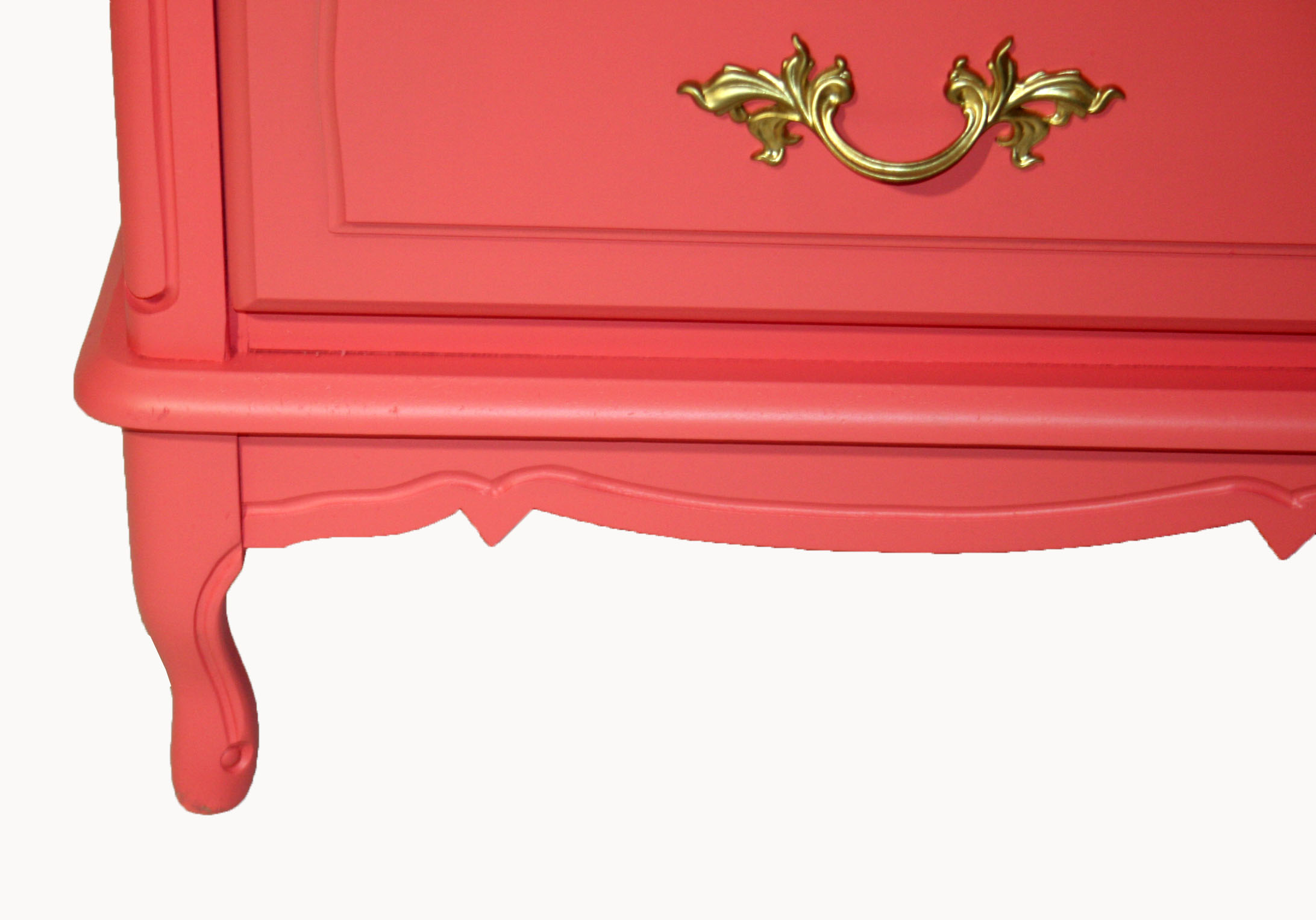 Vintage French Provincial Coral Nightstands - Pair | Chairish