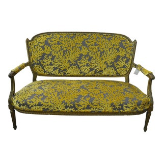 19th C. French Slate Gray Coral Upholstered Settee