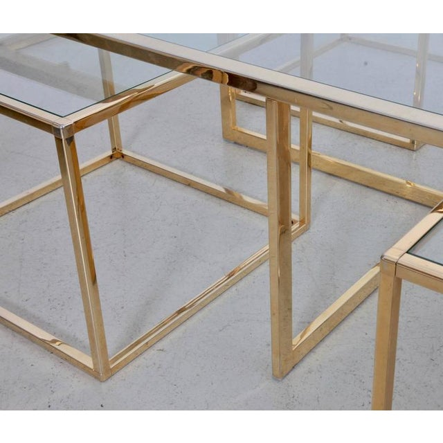 Huge Coffee Table in Brass with Four Nesting Tables by Maison Charles - Image 4 of 6