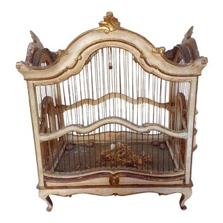 Antique Italian Carved Wood Birdcage