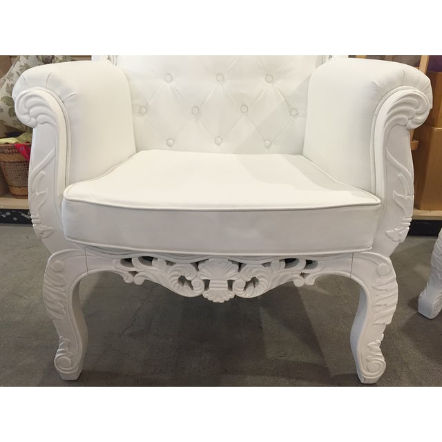 White Rococo Wingback Chairs - A Pair - Image 7 of 11