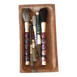 Antique Calligraphy Brushes & Wood Tray