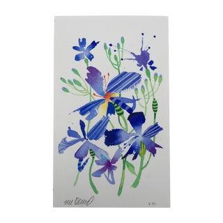 """Steve Klinkel """"Firefly Lilys 1"""" Original Watercolor Painting"""