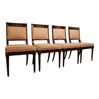 Set of 4 French Regency Mahogany Ormolu Carved Dining Chairs