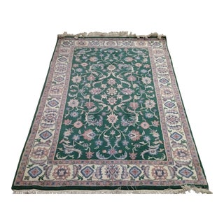 Green Indian Kashan Rug - 4′ × 6′