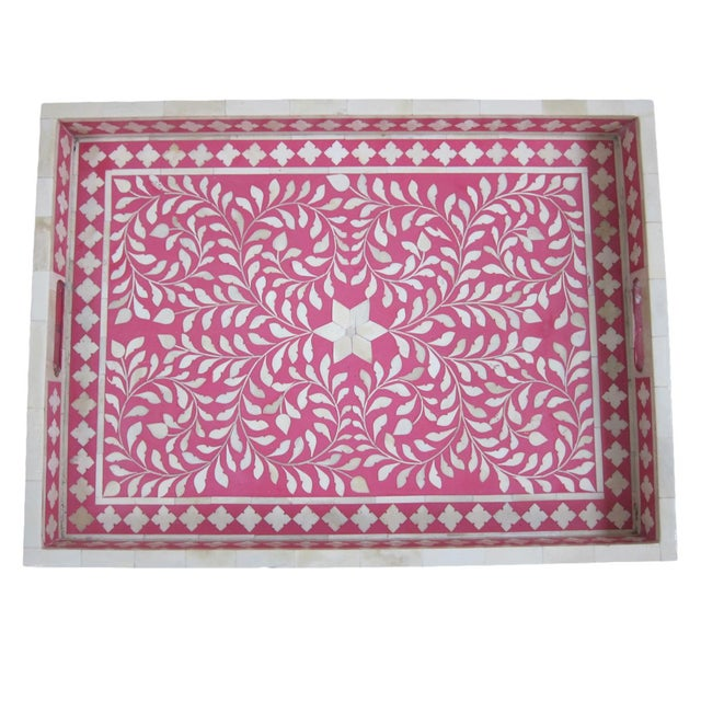 Traditional Bone Inlay Serving Tray - Image 2 of 3