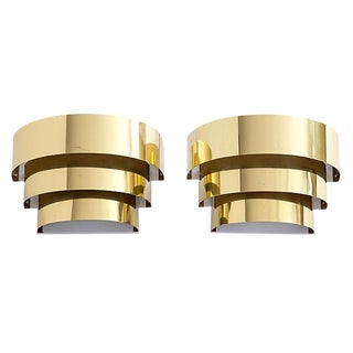 Lightolier Brass 3-Tier Sconces - A Pair