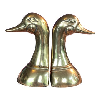 Vintage Brass Duck Bookends - A Pair