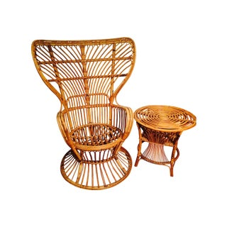 Vintage 1970s Rattan Chair & Side Table