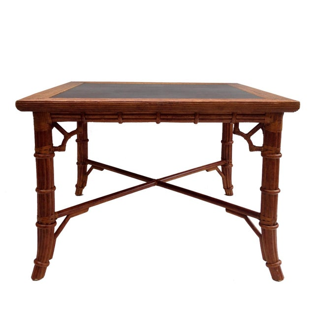 Faux Bamboo Dining Card Table - Image 1 of 3