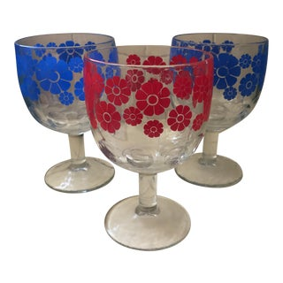 Vintage Daisy Goblets- Set of 3