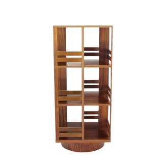 Danish Moden Rosewood Revolving Bookcase Record Cabinet Shelf