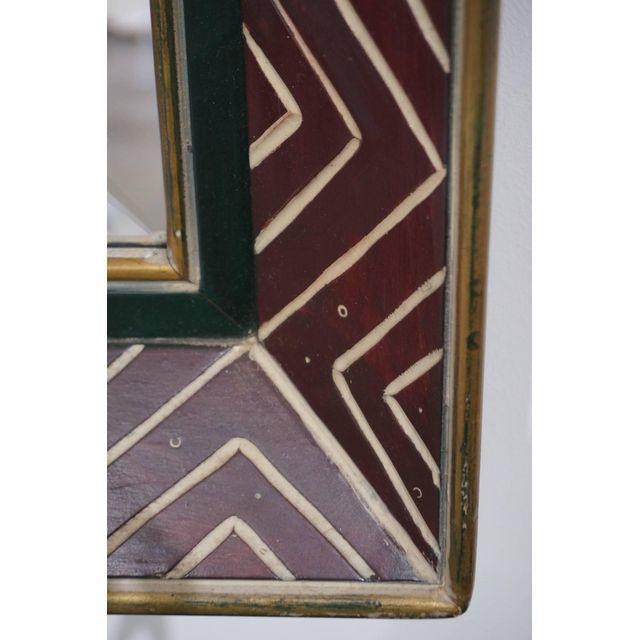 Art Deco Egyptian Revival Style Incised Chevron Pattern Frame Wall Mirror - Image 2 of 6
