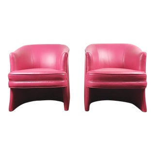 Pair of Vintage Pink Leather Club Chairs