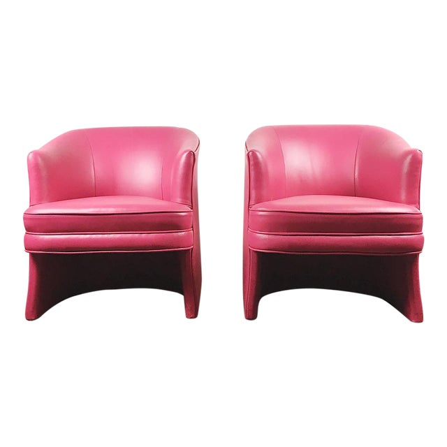 Pair of Vintage Pink Leather Club Chairs - Image 1 of 11
