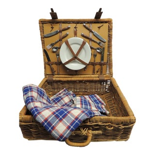 Vintage Picnic Wicker Basket with Blanket and Serving Set