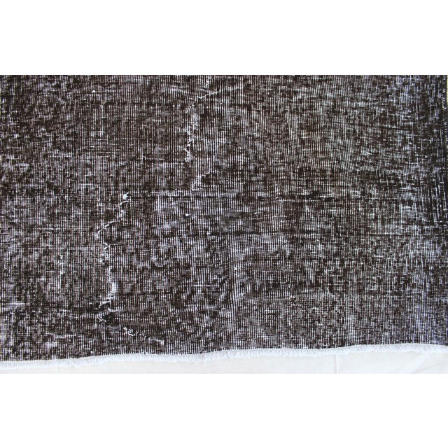 Vintage Black-Gray Turkish Overydyed Rug - Image 4 of 8