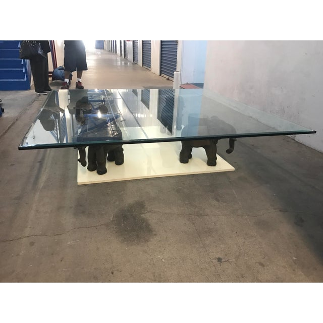 Glass Coffee Table With Wooden Elephant Stands - Image 8 of 8