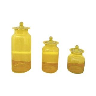 Mid-Century Yellow Glass Jars - Set of 3